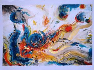 Pigmente streicheln Seidenpapier (IdNr.: Agk_21) @ Kunst- und Kreativhaus Rechenzentrum, Atelier 108
